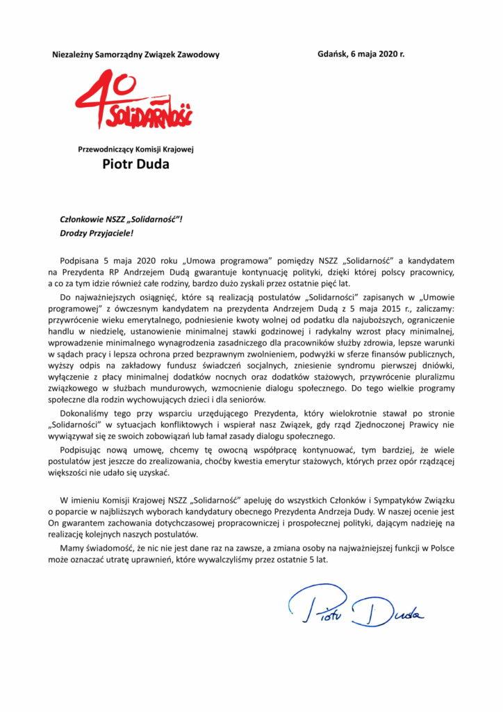 List Piotra Dudy do członków NSZZ Solidarność w sprawie poparcia Andrzeja Dudy w wyborach prezydenckich